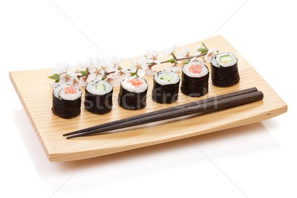 Sushi maki conjunto salmão pepino sakura Foto stock © karandaev