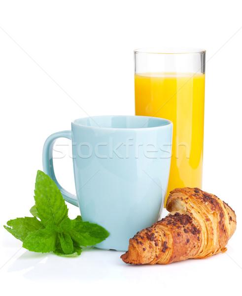 Taza café jugo de naranja frescos croissant aislado Foto stock © karandaev