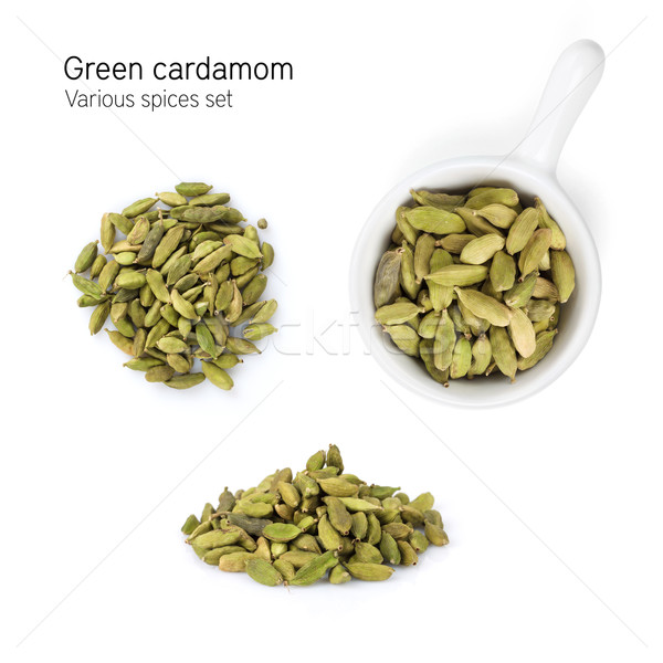 Groene kardemom Spice geïsoleerd witte gezicht Stockfoto © karandaev