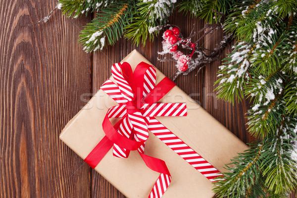 Photo stock: Noël · coffret · cadeau · neige · bois · bois