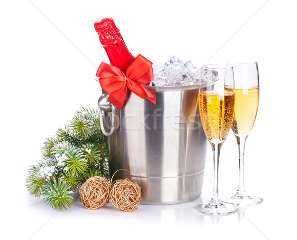Christmas champagne and snow fir tree Stock photo © karandaev