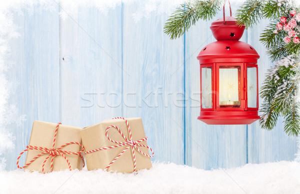 Noel mum fener hediye kutuları görmek Stok fotoğraf © karandaev