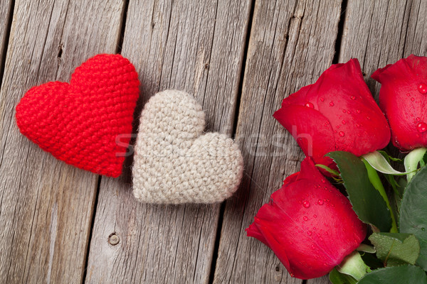 Red rose and Valentines day hearts on wood Stock photo © karandaev