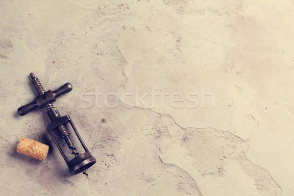 Vintage штопор пробка каменные таблице Top Сток-фото © karandaev
