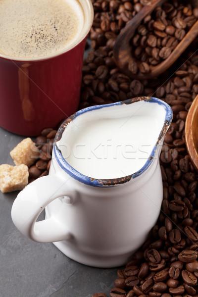 Kahve süt esmer şeker taş tablo gıda Stok fotoğraf © karandaev