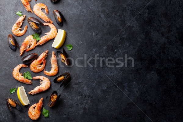 Stock photo: Mussels and shrimps