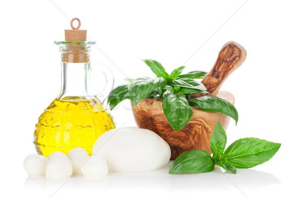 Mozzarella kaas olijfolie basilicum kruid bladeren Stockfoto © karandaev