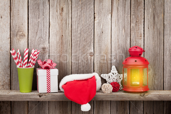 Christmas candle lantern, gift and decor Stock photo © karandaev