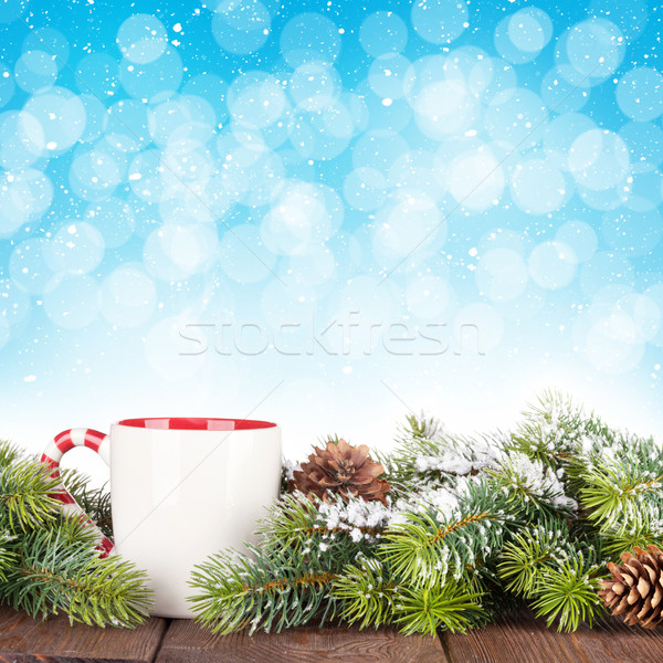 Christmas tree branch mulled wine cup Stock photo © karandaev