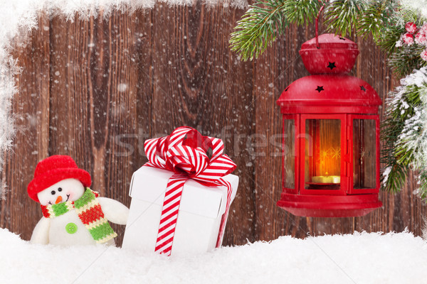 Natal vela lanterna caixa de presente boneco de neve brinquedo Foto stock © karandaev