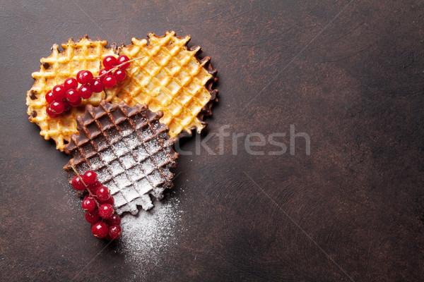 Waffles and berries Stock photo © karandaev