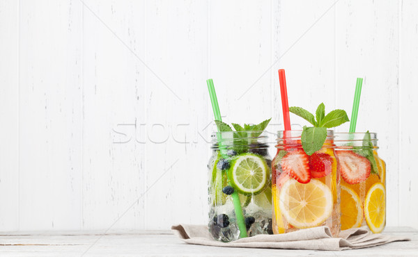 Fresh lemonade jar Stock photo © karandaev