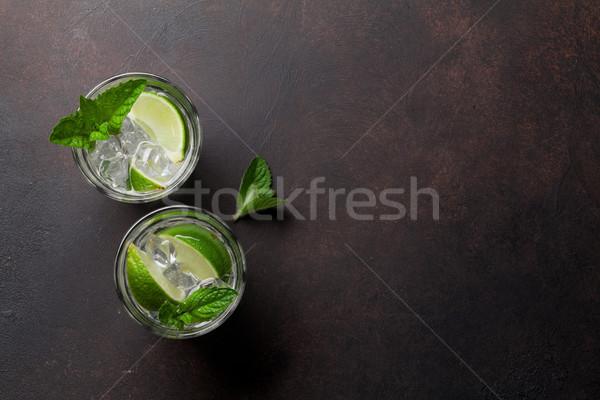 Mojito koktajle dwa koktajl okulary kamień Zdjęcia stock © karandaev