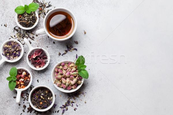 Különböző tea fekete zöld piros felső Stock fotó © karandaev