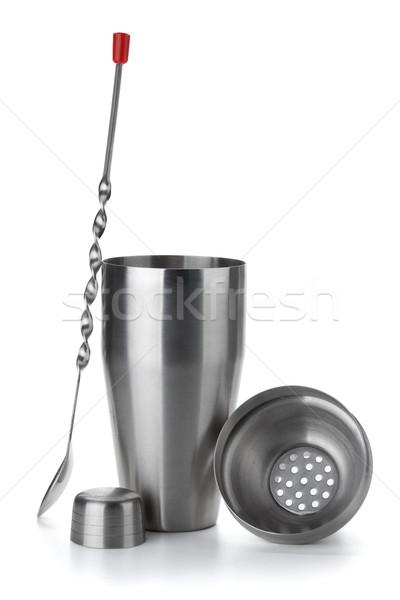 Kokteyl shaker kaşık yalıtılmış beyaz gıda Stok fotoğraf © karandaev