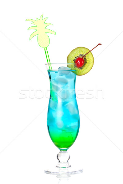 Blue tropical alcohol cocktail Stock photo © karandaev