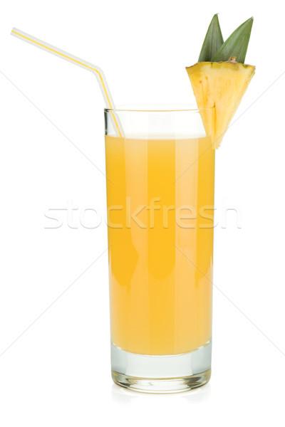 Ananas meyve suyu cam içme saman yalıtılmış Stok fotoğraf © karandaev