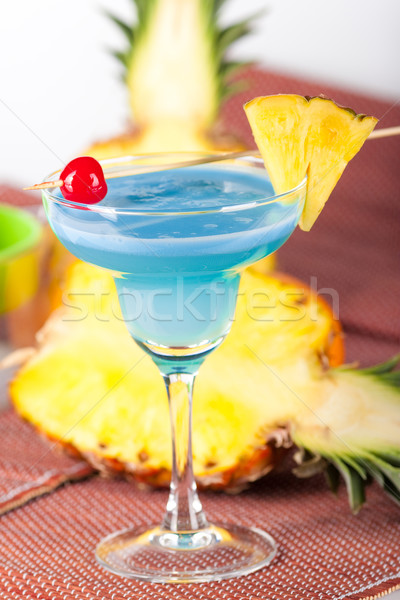 Blue alcohol cocktail with cherry Stock photo © karandaev