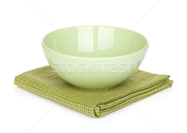 Salad bowl over kitchen towel Stock photo © karandaev
