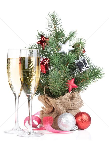 Zdjęcia stock: Mały · choinka · dwa · szampana · okulary