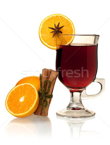 Sıcak şarap portakal tarçın yalıtılmış beyaz Stok fotoğraf © karandaev
