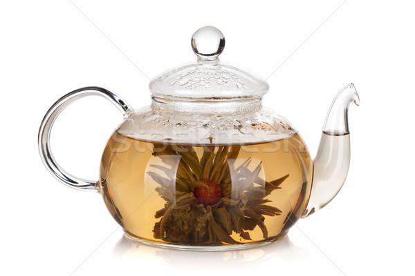 Cam demlik lezzet çay yalıtılmış beyaz Stok fotoğraf © karandaev