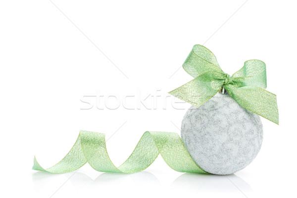 Foto d'archivio: Natale · gingillo · verde · nastro · isolato · bianco