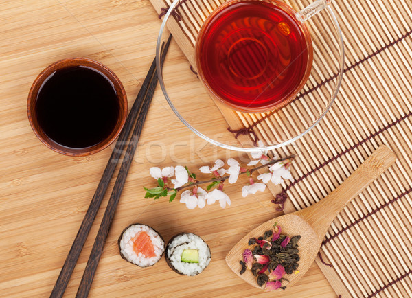 Sushi maki conjunto chá medicinal sakura ramo Foto stock © karandaev