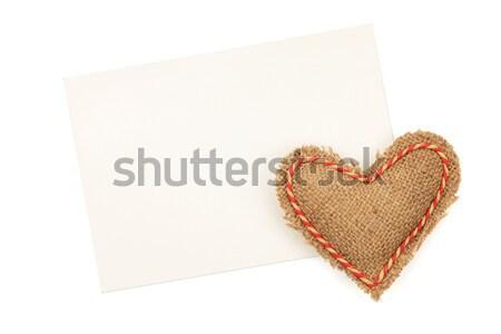 Blank greeting card and vintage handmaded valentines day toy hea Stock photo © karandaev
