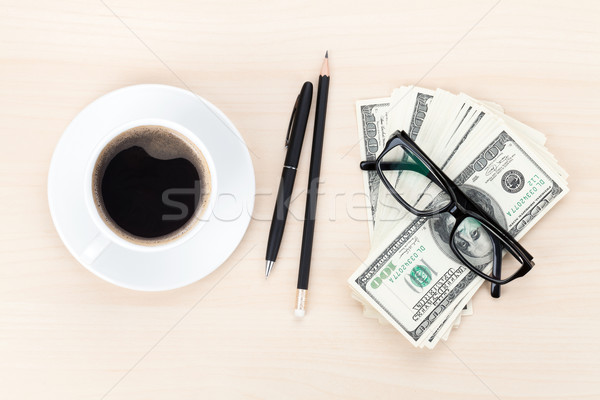 Money cash, glasses, pen and coffee cup  Stock photo © karandaev