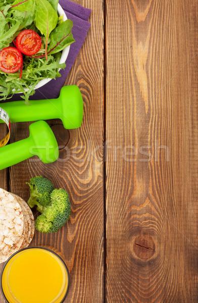 Mérőszalag egészséges étel fából készült fitnessz egészség felülnézet Stock fotó © karandaev