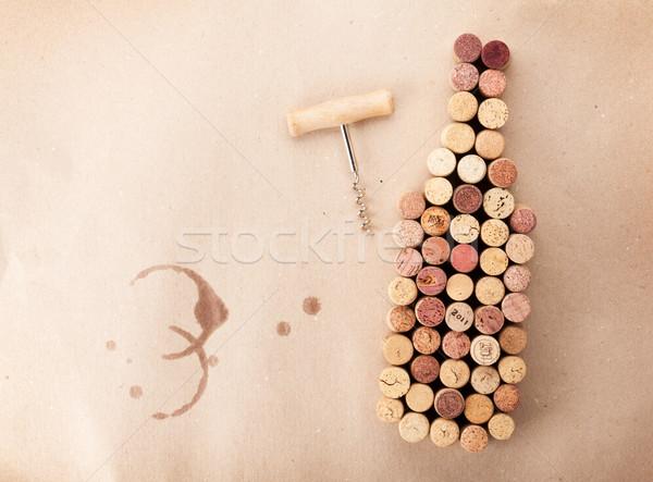 Borosüveg alakú dugóhúzó karton felső kilátás Stock fotó © karandaev