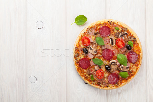 Italian pizza with pepperoni Stock photo © karandaev