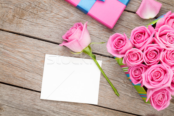 Valentines day greeting card or photo frame and gift box full of Stock photo © karandaev