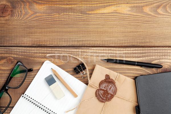Photo stock: Bureau · table · notepad · vintage · enveloppe