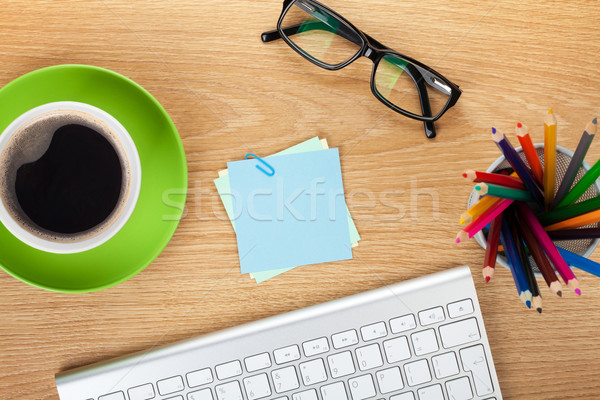 Blank post-it with office supplies and coffee cup Stock photo © karandaev