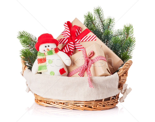 Сток-фото: Рождества · снеговик · игрушку · корзины