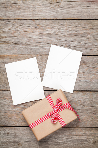 Photo frame cards and gift box with ribbon Stock photo © karandaev