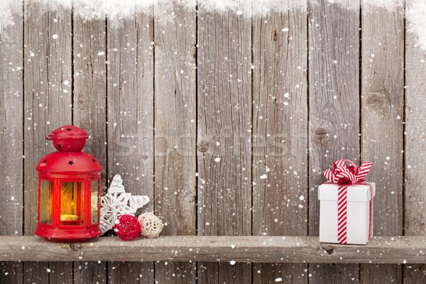 Karácsony gyertya lámpás ajándék dekoráció ajándék doboz Stock fotó © karandaev