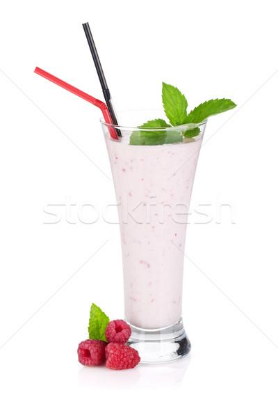 Himbeere Milch Smoothie mint trinken isoliert Stock foto © karandaev