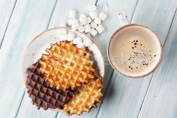 Coffee and waffles Stock photo © karandaev