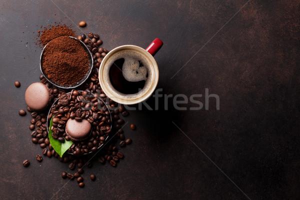 Stockfoto: Koffiekopje · bonen · chocolade · steen · top