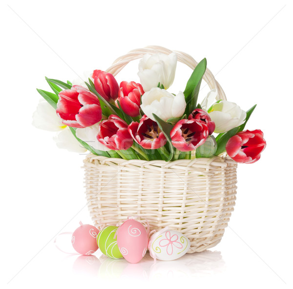 Colorful tulips and easter eggs Stock photo © karandaev