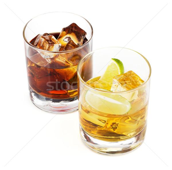 Whisky cola cócteles aislado blanco fondo Foto stock © karandaev