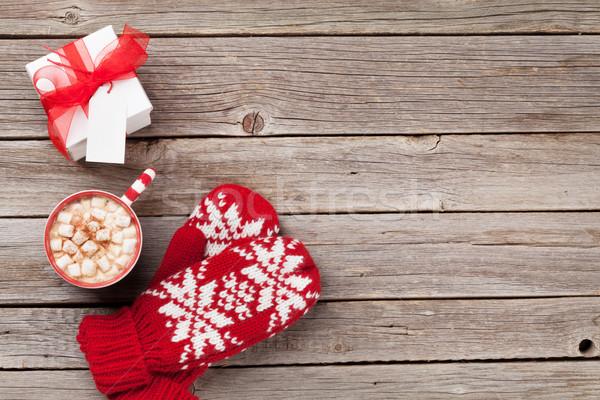 Karácsony ujjatlan kesztyűk ajándék forró csokoládé ajándék doboz mályvacukor Stock fotó © karandaev