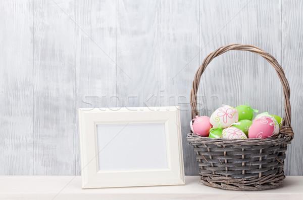 Easter eggs photo frame basket Pasqua legno natura Foto d'archivio © karandaev