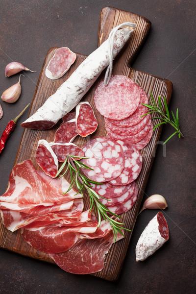 Salam jambon sosis prosciutto domuz pastırması Stok fotoğraf © karandaev