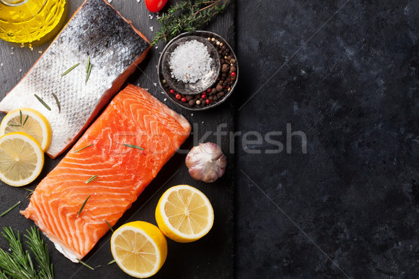 Raw salmon fish fillet Stock photo © karandaev