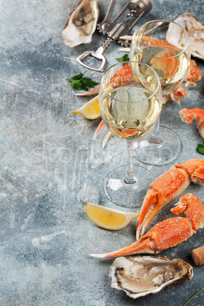 Seafood and wine Stock photo © karandaev