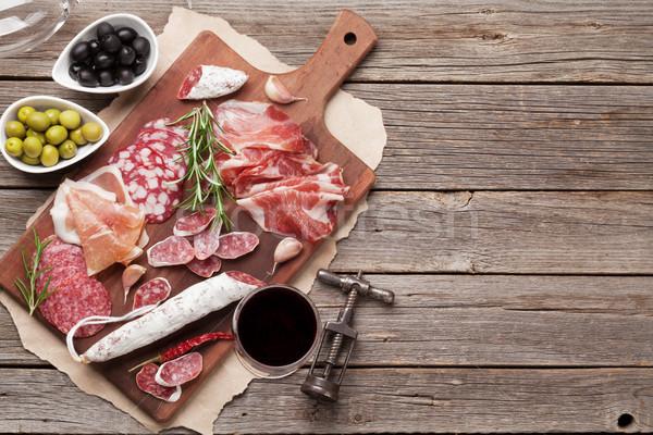 Salame presunto salsicha prosciutto vinho Foto stock © karandaev